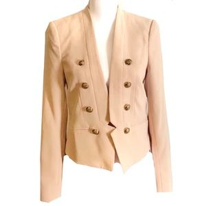 F21 beige double breasted blazer with gold button